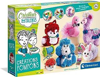 Clementoni- Créateur de Talents-Créations Pompons-kit de Loisir créatif-Version française-fabriqué en Italie, 8 Ans et Plu...