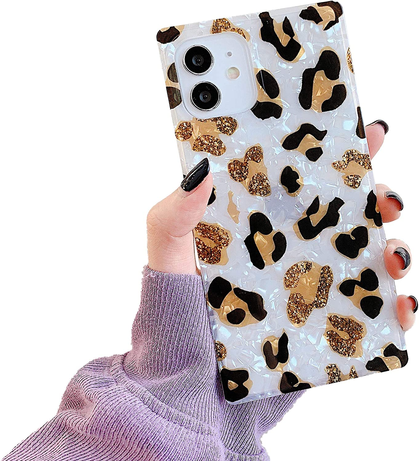 Compatible with iPhone 12/12 Pro Square Case Luxury Sparkle Leopard Pattern Chic Slim Glitter Translucent Soft TPU Silicone Gel Protective Cases Cover for iPhone 12 Pro 6.1-inch