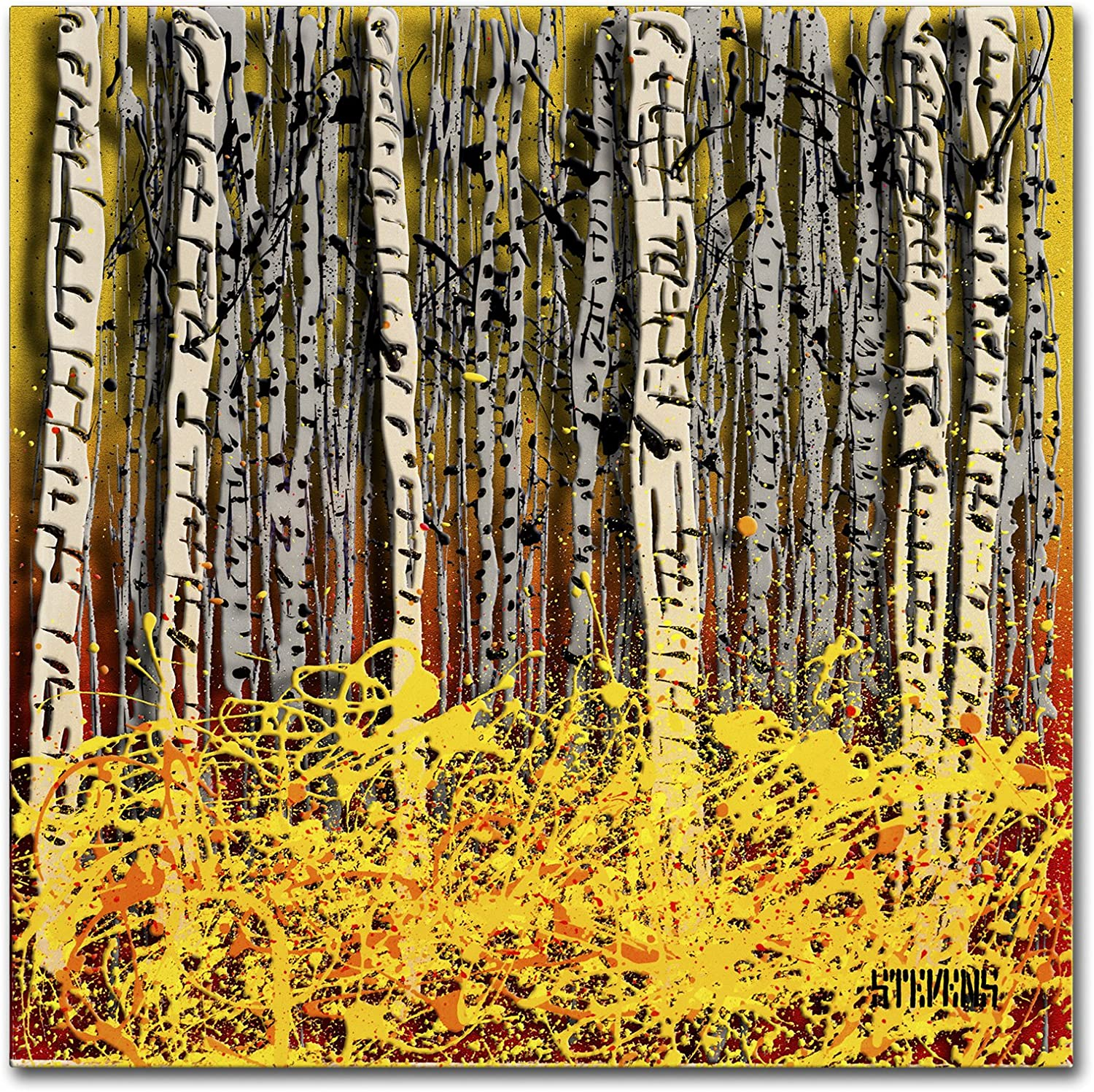 Trademark Fine Art Fall Aspens Artwork by Roderick Stevens, 14Inch by 14Inch