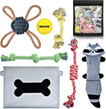 BULLTUG - Dog Toys (7-Pack Gift Set). Toy Storage Box, Durable Chew Ropes, Squeaky Plush, Tough Bouncy Ball - for Puppies up to Large Size Dogs.