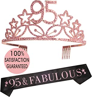 95th Birthday Tiara and Sash, Happy 95th Birthday Party Supplies, It's My 95th Birthday Satin Sash and Crystal Tiara Birthday Crown for 95th Birthday Party Supplies and Decorations (Pink)…