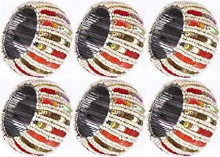 Cotton Clinic Sequin Beaded Napkin Rings Set of 6, Napkin Rings Bulk, Hand Made Napkin Rings for Wedding Farmhouse Vintage Design - Red Orange