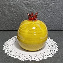 yellow Pomegranate, Pottery Pomegranate, Pomegranate art, yellow Pottery, Israeli Pomegranate, decorative fruit, home decor, ceramic pomegranate