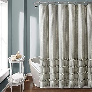 "Lush Decor, Gray Vintage Stripe Yarn Dyed Cotton Shower Curtain, 72"" x 72"""