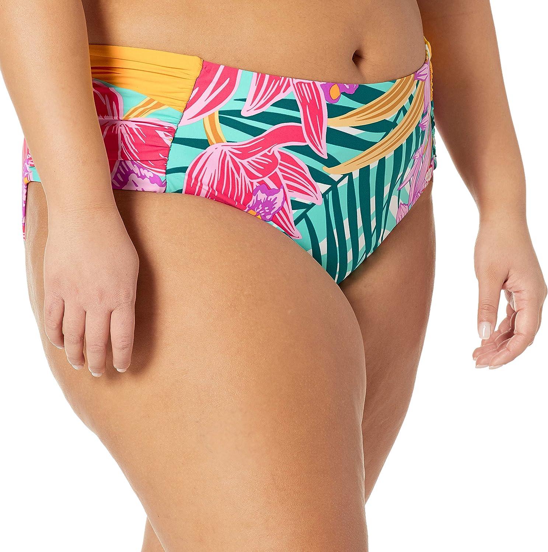 Trina Turk Women's Shirred Side Mid Rise Hipster Pant Bikini Swimsuit Bottom