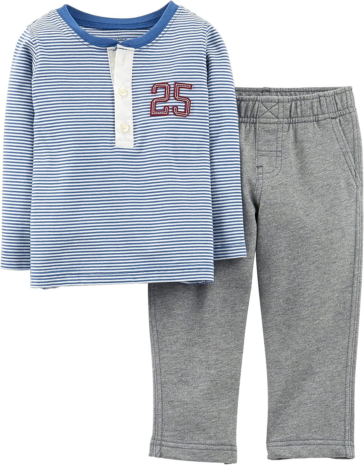 Carters Baby Boys Mommy's All-Star Henley Set 9 Month Blue/grey