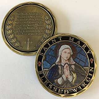Aizics Mint ST. Mary Blessed Virgin Hail Mary Full of Grace Prayer Commemorative Coin. Cast with Colorized Saint and Beautiful Iron Plating & Ancient Bronze Original one-of-a-Kind Design.