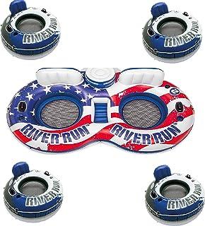 Intex American Flag 2 Person Float w/ River Run 1 Person Tube (4 Pack)