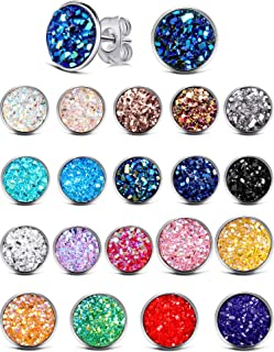 20 Pairs Round Stud Earrings Stainless Steel Druzy Studs Earrings Set Anti-sensitive Fits Women Girls, 8 mm and 12 mm