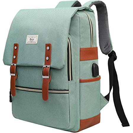 Ronyes Vintage Laptop Backpack for Women Men Unisex College Bag School College Bookbag 15.6inch Laptop Bag Small Computer Backpack Stylish Casual Rucksack Daypacks with USB Charging Port (LightGreen)