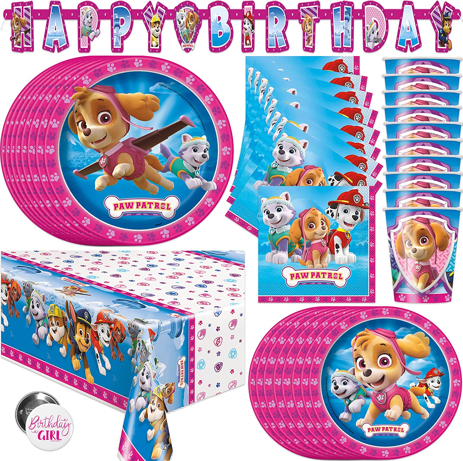 Pink Skye Paw Patrol Party Supplies and Decorations for Girls Birthday Party, Features Skye and Everest, Serves 16 Guests, Includes Tableware and Decor with Table Cover, Banner, Plates, Napkins & More