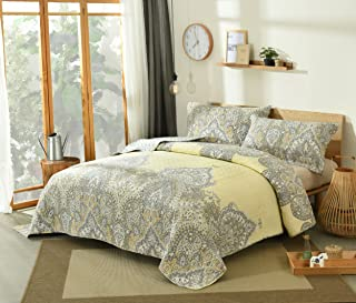 DaDa Bedding Pale Daffodil Bedspread Set - Bohemian Light Yellow Grey Floral Paisley - King - 3-Pieces