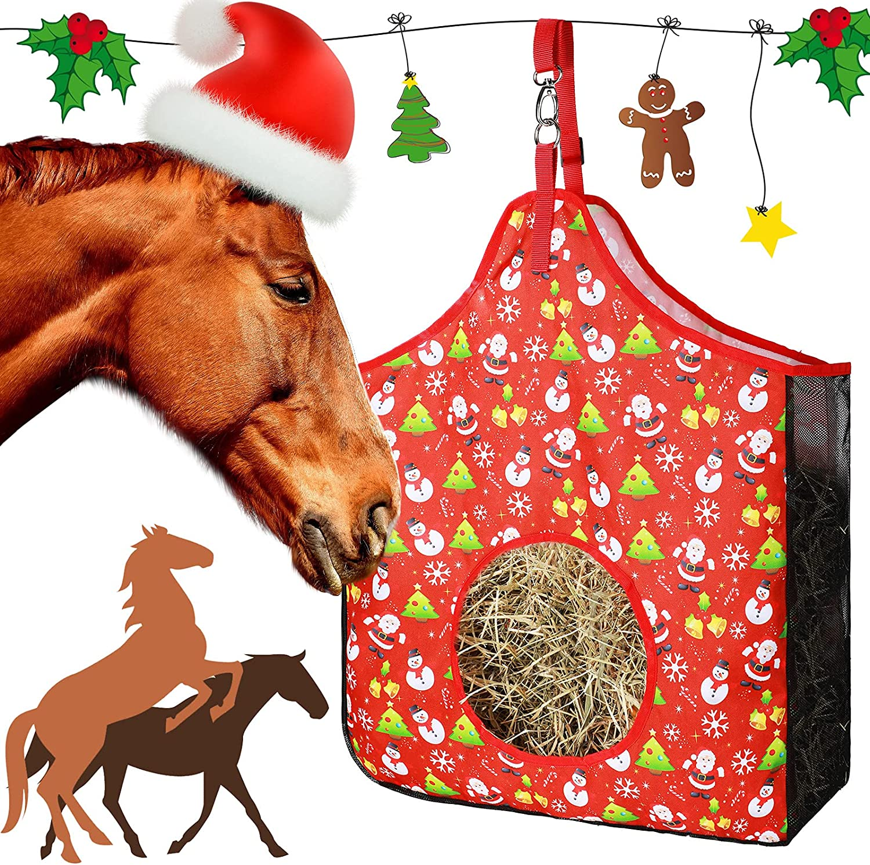 Civaner Christmas Price reduction Topics on TV Horse Hay Feed Bag Nylon Feeder Tote