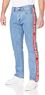 Calvin Klein Jeans Men's Ckj 035 Mid Rise Straight Jeans, Iconic Mid Stone Side Stripe, 33 32