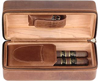 Leather Cigar Humidor Case Cedar Wood Box - Oil Pull-up Leather - [Light Tan]
