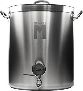 Northern Brewer - Megapot 1.2 Stainless Steel Brew Kettle with Volume Markings (20 Gallon w/Valve and Thermometer)