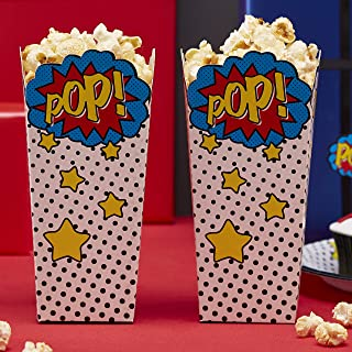 Ginger Ray Comic Superhero Pop Party Popcorn Party Boxes, Mixed