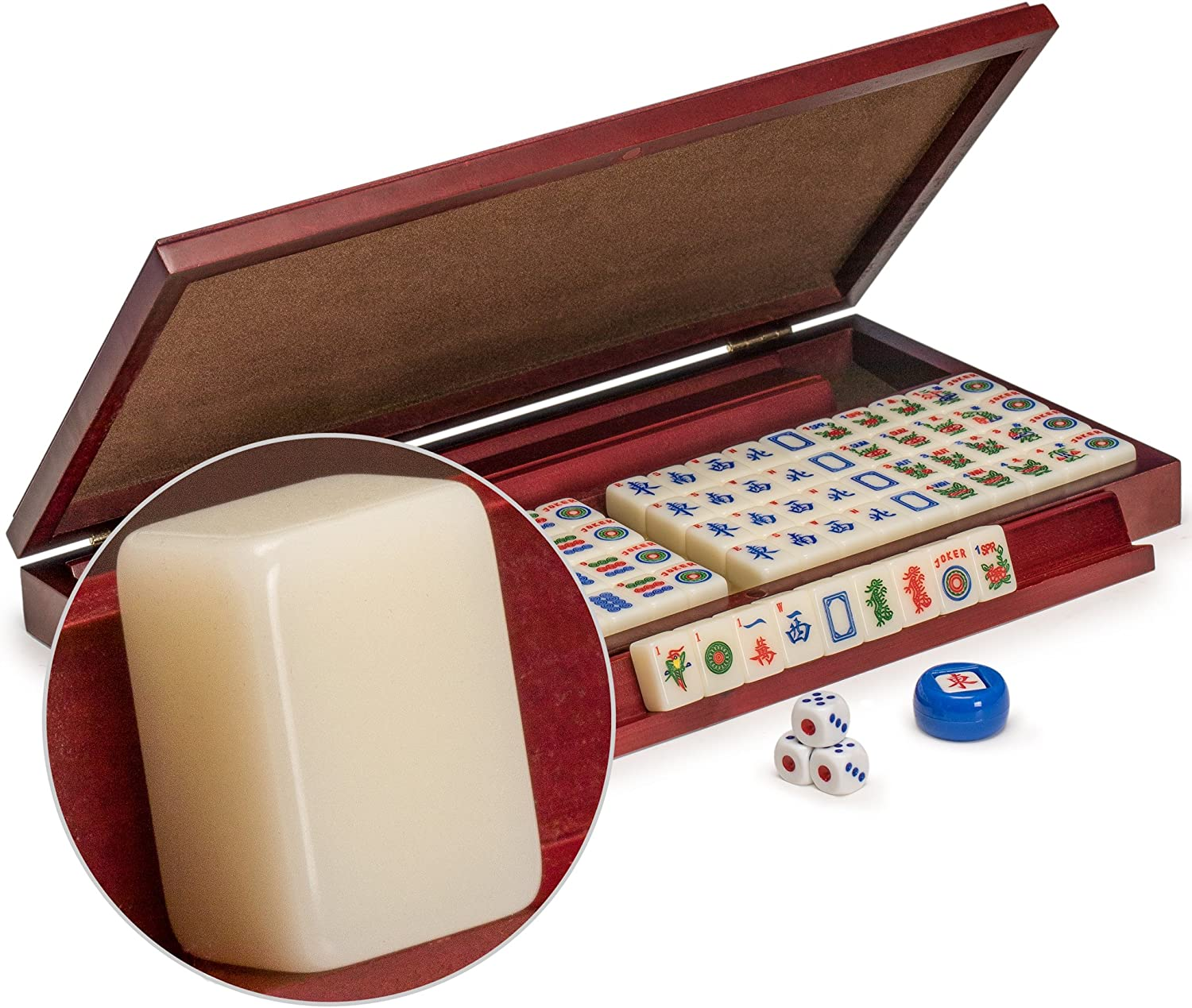 Yellow Mountain Imports American Mahjong Set, Mini Classic Tiles with Portable Vinyl Case  Four Wooden Racks, Dice, & Wind Indicator