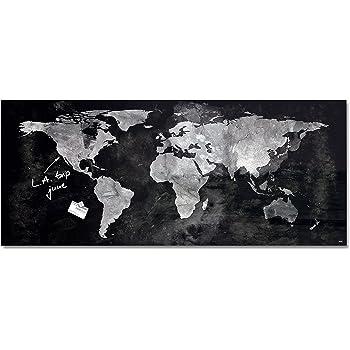 SIGEL GL246 Pizarra magnética de cristal,130 x 55 cm, diseño Mapamundi, negro/gris - Artverum: Amazon.es: Oficina y papelería
