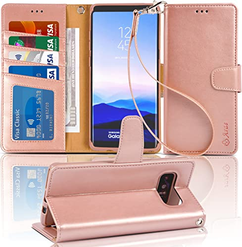 lowest Arae Wallet Case Compatible popular for Samsung Galaxy Note 8 with Kickstand and popular Flip Cover (Rose Gold) online sale