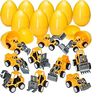 """Easter Eggs with Pull Back Construction Cars - Jumbo 3"""" Toy Filled Eggs - Surprise Eggs for Easter Party Favors and for Easter Basket Stuffers - Easter Egg Hunt - Assortment of Truck Vehicles"""