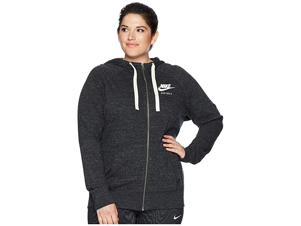 Nike NSW Gym Vintage Full Zip Hoodie (Size 1X-3X) (Black/Sail) Women