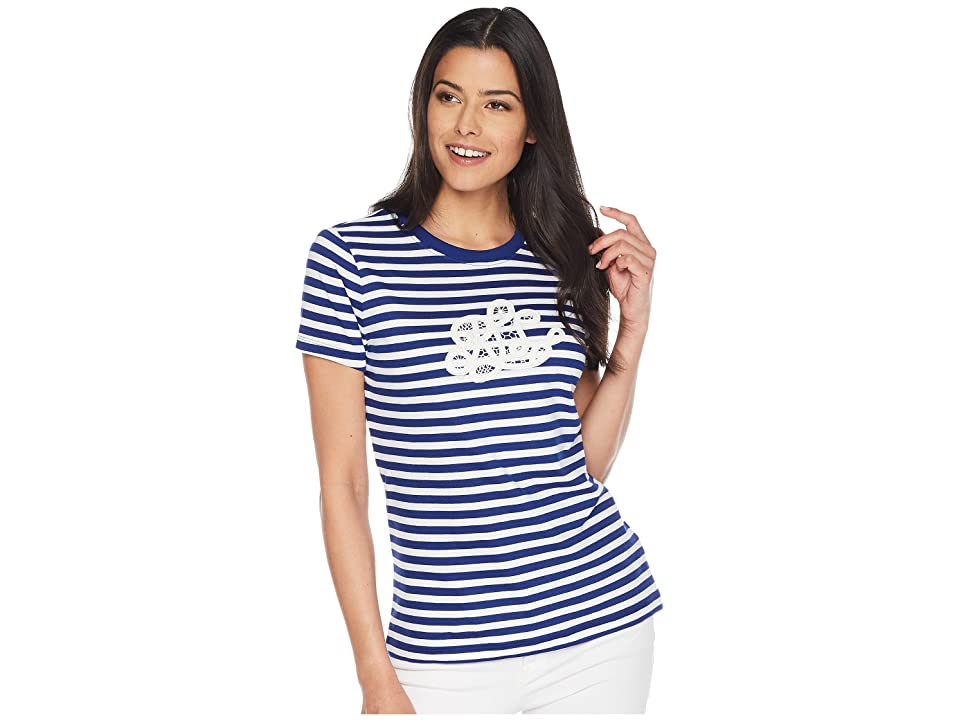 LAUREN Ralph Lauren Monogram Striped T-Shirt (True Sapphire/Soft White) Women