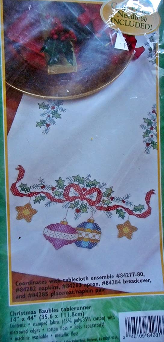 Bucilla Christmas Baubles Tablerunner Stamped Cross Stitch KIt 84281