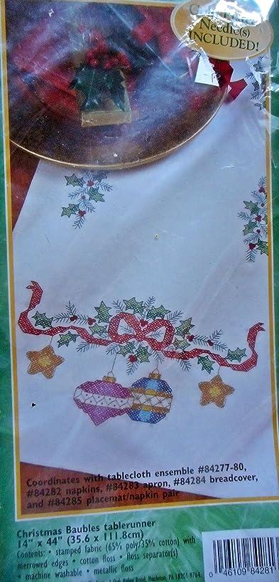 Bucilla Christmas Baubles Tablerunner Stamped Cross Stitch KIt 84281
