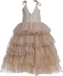 Flower Girl Strap Lace Tiered Tutu Tulle Party Dress Girls Maxi Dresses