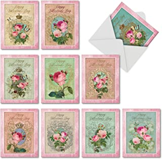 The Best Card Company - Romance and Roses - Box of 10 Happy Valentine's Day Greeting Cards with Envelopes (4 x 5.12 Inch) M2379VDG-B1x10
