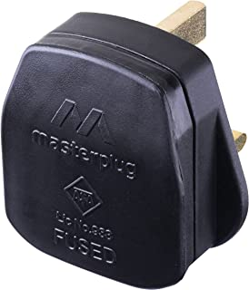Masterplug Rewireable Moulded Plug with 13 Amp Fuse, 50 x 48 x 43 mm, Black