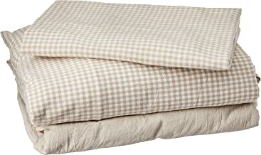 Muji Washed Cotton Bed Cover Set, Single Size, Beige Check, 150 x 210cm