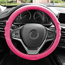 FH Group FH3003BABYPINK Baby Pink Steering Wheel Cover (Silicone W. Grip & Pattern Massaging grip Baby Pink Color-Fit Most Car Truck Suv or Van)