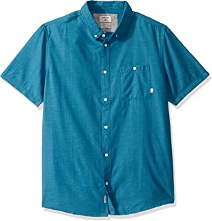قميص Quiksilver رجالي SS WaterFALLS عادي منسوج بالأزرار للأسفل
