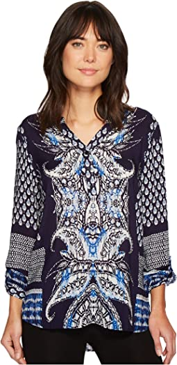 Tribal - Roll Up Sleeve Printed Blouse