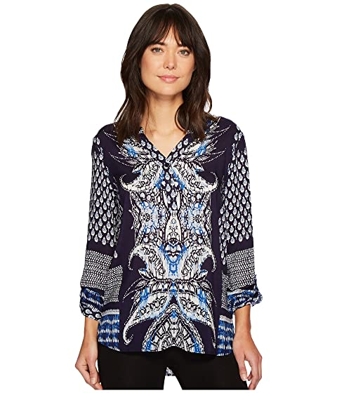 Sleeve Tribal Printed Roll Up Blouse rfR7f