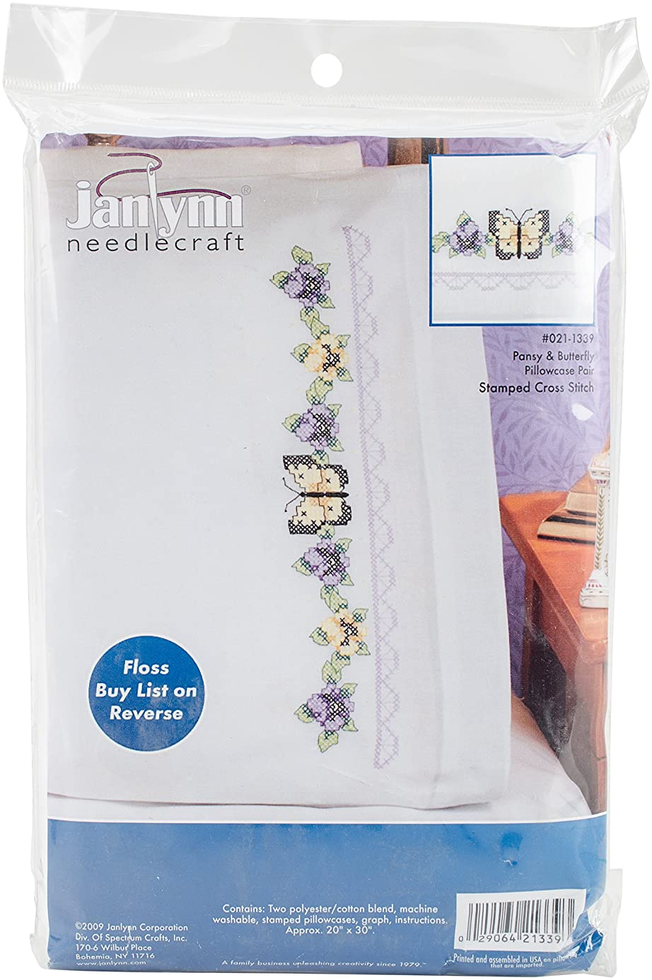 Janlynn Stamped Cross Stitch Kit, Pansy & Butterfly Pillowcase Pair ubh3403017