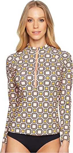 Tory Burch Swimwear Geo Octagon Square Surf Shirt