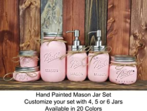 Custom 4, 5 or 6 Piece Painted Mason Jar Bathroom Set with Soap Dispenser Lid – Bathroom Accessories – Rustic Farmhouse Decor – Country Chic Decor – Available in 20 Colors – Shown in Perfect Pink