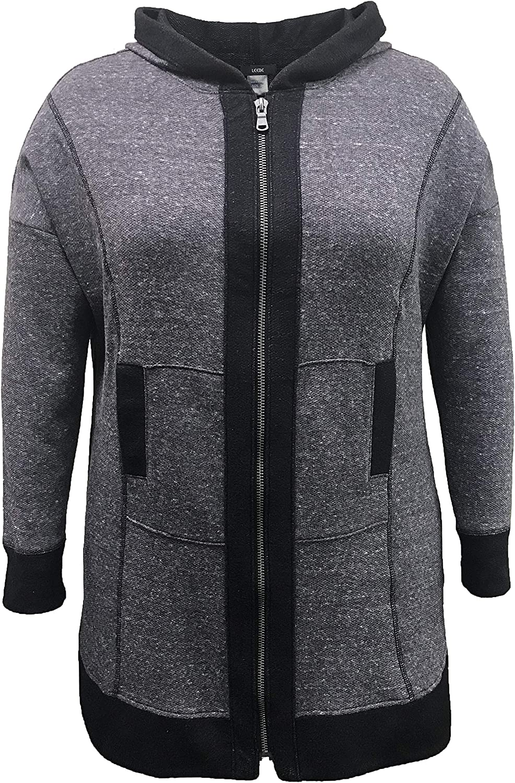 LEEBE Women's Plus Size Tunic Length Zip-Up Hoodie (1X-5X)
