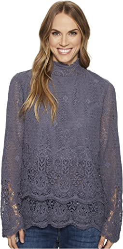Dylan by True Grit - Pretty Fringed Crochet Long Sleeve Double Layer Pullover with Lining