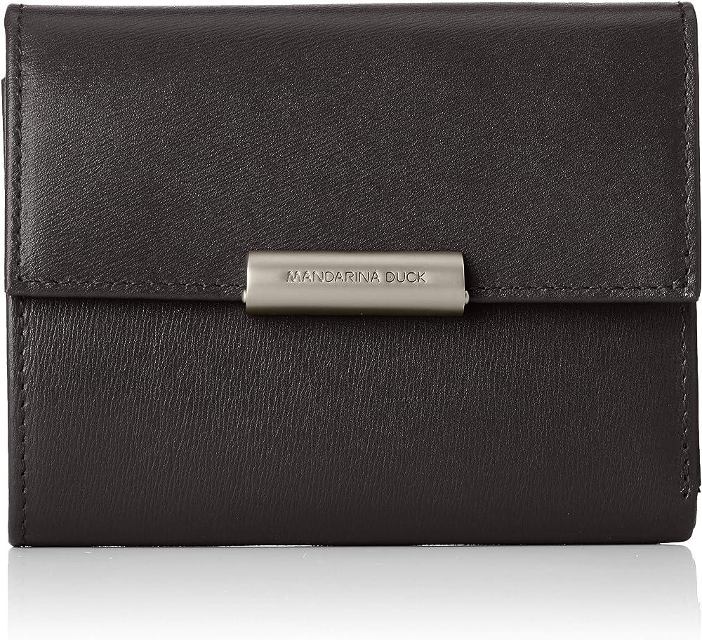Mandarina duck  hera 3.0, portafoglio, porta carte di credito da donna, in vera pelle, NERO P10RAP14A