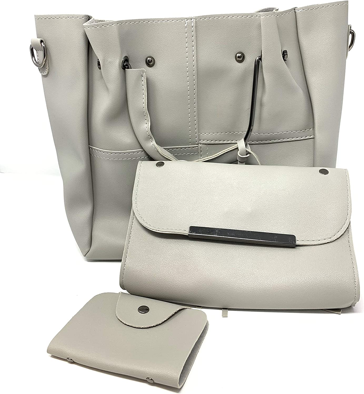 3 in 1 luxury handbag PU leather tote bags fashion shoulder crossbody women