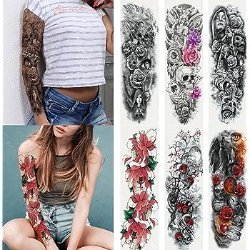 Amazon Com Kotbs 6 Sheets Full Arm Temporary Tattoo Waterproof Extra Large Temporary Tattoos For Women Men Adults Black Skull Rose Body Art Tattoo Sticker Fake Tattoo Beauty