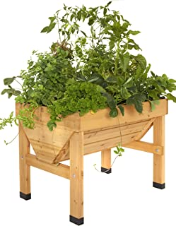 Veg Trug 1m Small Wood Seater - Natural