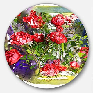 Designart Red Roses Bunch Watercolor Floral Large Metal wall Art - Disc of 23, 23X23-Disc of 23 inch
