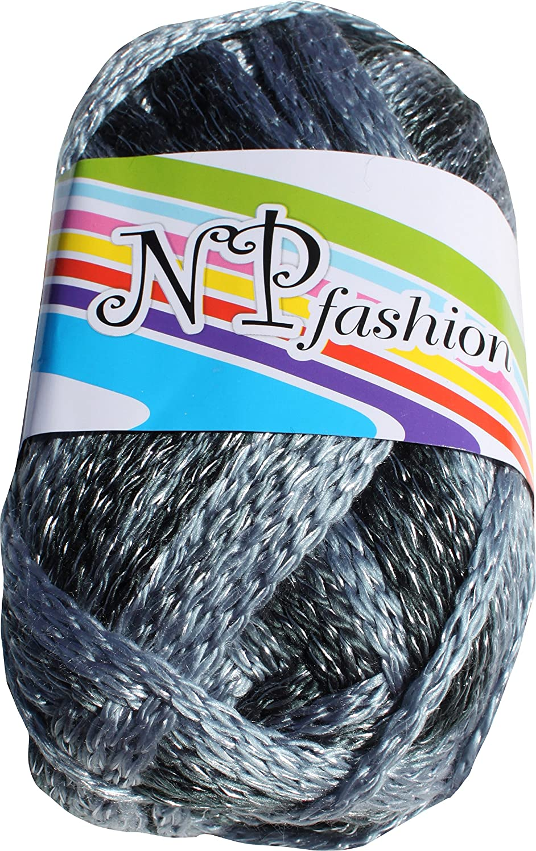 RaanPahMuang Thick Metallics Crochet Knitting Yarn for Scarves Mittens Hats 150gms, Blue Gray