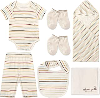 WithOrganic Premium Newborn Layette Gift Set - 7 Pieces | 100% Certified Organic Cotton for Baby Boy or Girl