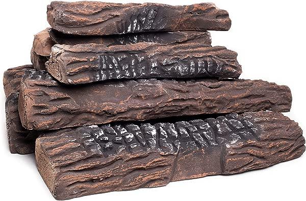 自然 Glo 大型燃气壁炉日志月三件套陶瓷原木使用于室内气体插入通风电动或户外壁炉火坑逼真的清洁燃烧配件